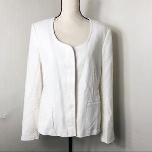 Ann Taylor Ivory Button Front Blazer Jacket 16